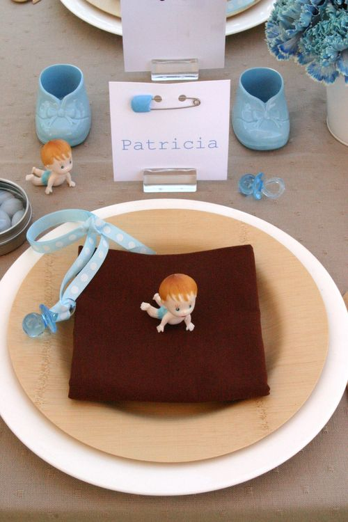 Vintage baby boy placesetting
